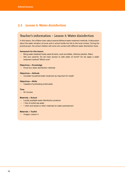 School Lessons Lesson 3: Water Disinfection   medbox org
