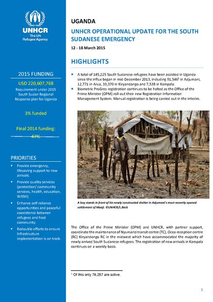 Uganda UNHCR operational update for the South Sudanese