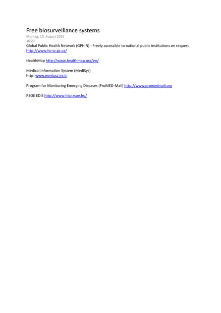Free biosurveillance systems   medbox org