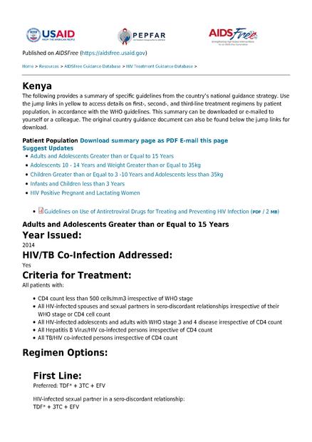 Kenya: HIV Treatment Guidance Database   medbox org