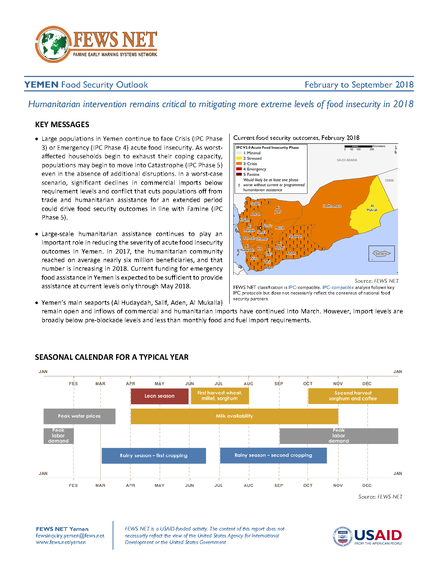 Yemen Food Security Outlook Update, February to September