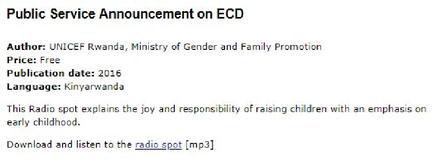 Public Service Announcement on ECD (Audio file - Radio spot