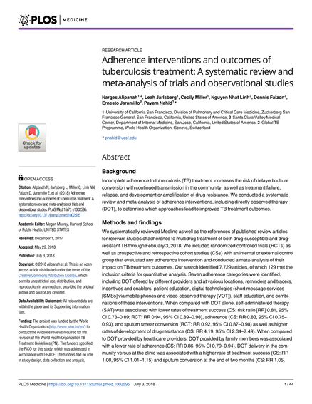 Adherence interventions and outcomes of tuberculosis