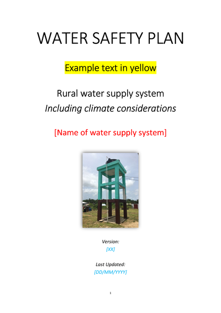 Water Safety Plan Rural Water Supply Systems Including
