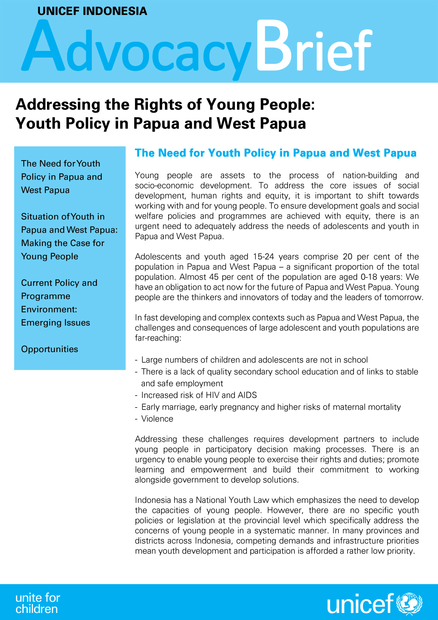 Addressing the Rights of Young People : Youth Policy in