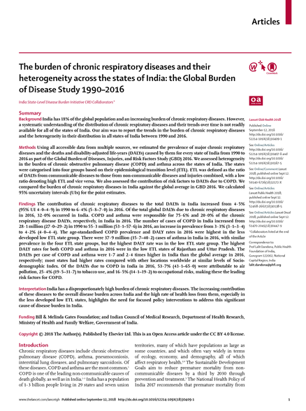 The burden of chronic respiratory diseases and their