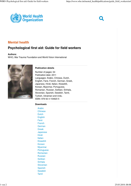 Psychological first aid: Guide for field workers  Available